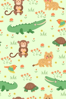 Seamless pattern with cute tropical animals.