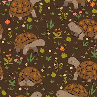 Seamless pattern with cute turtles.