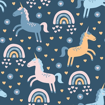 Seamless   pattern with cute unicorn and rainbow