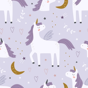 Seamless pattern with cute unicorns and decorative elements on a colored background vector