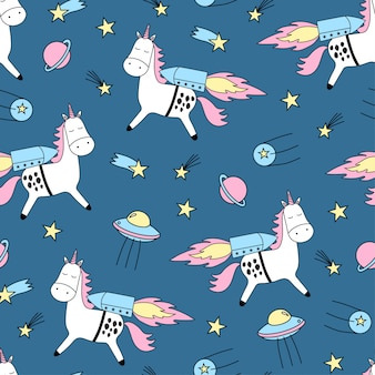 Seamless   pattern with cute unicorns, stars and planet.