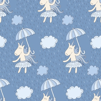 Seamless pattern with cute unicorns