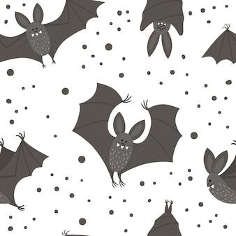귀여운 벡터 박쥐와 함께 완벽 한 패턴입니다. 할로윈 캐릭터가 있는 디지털 종이. 재미있는 가을 모든 성도들은 아이들을 위해 날고 잠자는 검은 동물들과 배경을 가지고 있습니다.