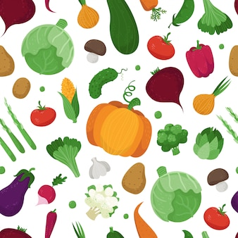 Seamless pattern with cute vegetables