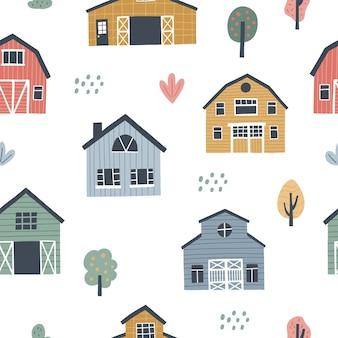 かわいい村の家とのシームレスなパターン。 hそして子供たちのデザインのために描かれたベクトルイラスト。