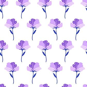 귀여운 바이올렛 플랫 꽃으로 완벽 한 패턴입니다. 흰색 바탕에 손으로 그린 벡터 일러스트 레이 션.