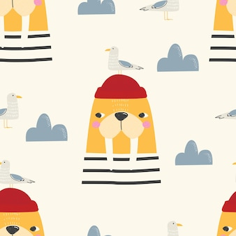 Seamless pattern with a cute walrus a bird and a cloud on a colored background vector illustration