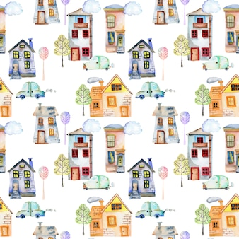 Seamless pattern with cute watercolor houses