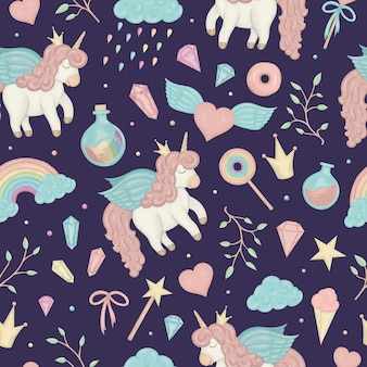 Seamless pattern with cute watercolor style unicorns, rainbow, clouds, donuts, crown, crystals