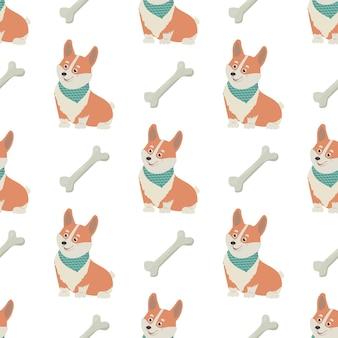 귀여운 웨일스 코기 개와 뼈가 있는 매끄러운 패턴 직물 포장지 및 포장용