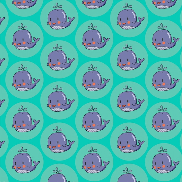 Seamless pattern with cute whale