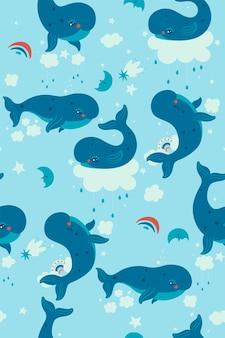 하늘에 귀여운 고래와 함께 완벽 한 패턴입니다. 벡터 그래픽입니다.