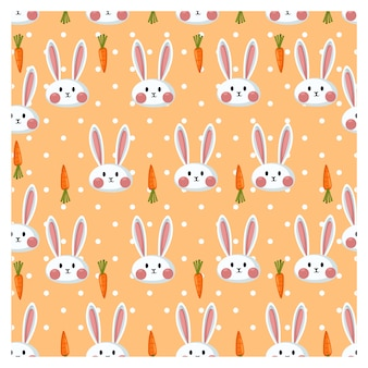 Бесшовный образец с милым белым кроликом и морковью.