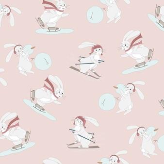 Бесшовный фон с милым белым кроликом с зимними видами спорта. мультипликационный персонаж на новогоднем фоне.