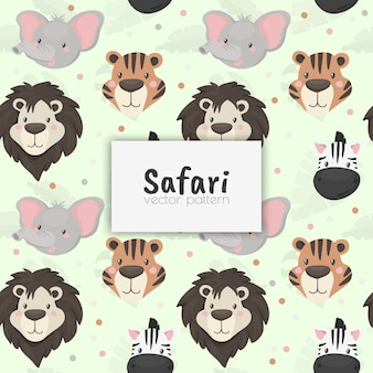 Seamless pattern with cute wild animal. african safari.vector illustration