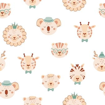 Seamless pattern with cute wild animals. background with lion,deer, giraffe, zebra, tige, bear in flat style. illustration for kids. design for wallpaper, fabric, textiles, wrapping paper. vector