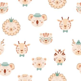 かわいい野生動物とのシームレスなパターン。ライオン、鹿、キリン、シマウマ、tige、フラットスタイルのクマの背景。子供のためのイラスト。壁紙、布、テキスタイル、包装紙のデザイン。ベクター