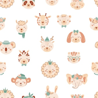 Seamless pattern with cute wild animals. background with lion, dog, elephant, cat, tige, bear in flat style. illustration for kids. design for wallpaper, fabric, textiles, wrapping paper. vector