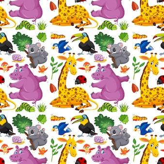 귀여운 야생 동물 만화 캐릭터와 함께 완벽 한 패턴