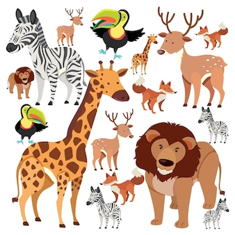 Seamless pattern with cute wild animals on white background