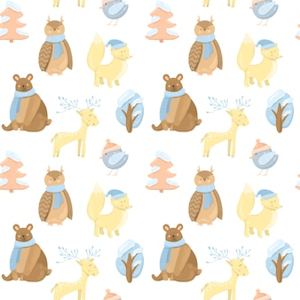 Seamless pattern with cute winter animals (bear, fox, owl, deer, bird) and trees