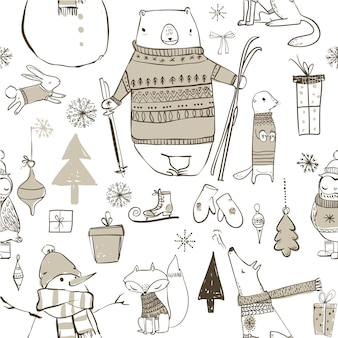 Seamless pattern with cute winter cartoon animals and elements