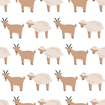 白いふわふわの羊や山羊とキュートなシームレス柄。家畜の背景。壁紙、パッケージ。フラットベクトルイラスト