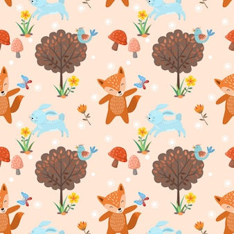 Seamless pattern with cute wolf andrabbit in forest.