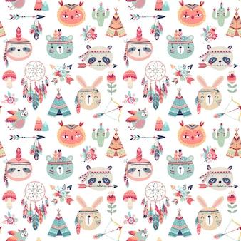 귀여운 숲 boho 부족 동물과 완벽 한 패턴