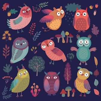 Seamless pattern with cute woodland owls funny characters with different mood on dark background