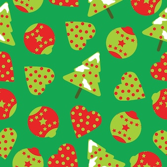 Seamless pattern with cute xmas tree and ornaments on green background