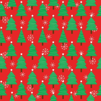 Seamless pattern with cute xmas tree and snowflakes on red background