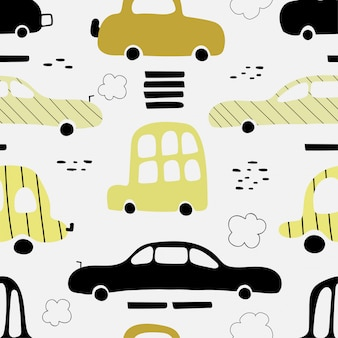 Seamless pattern with cute yellow cars.