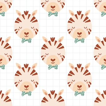 Seamless pattern with cute zebra in bow tie. background with wild animals in flat style. illustration for kids. design for wallpaper, fabric, textiles, wrapping paper. vector