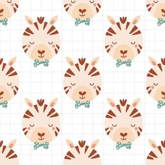나비 넥타이에 귀여운 얼룩말과 함께 완벽 한 패턴입니다. 평면 스타일에 야생 동물과 배경입니다. 아이들을 위한 삽화. 벽지, 직물, 직물, 포장지를 위한 디자인. 벡터