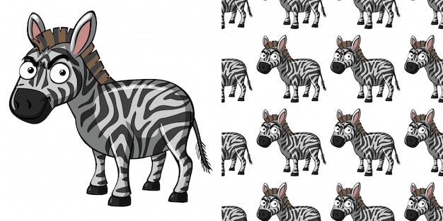Seamless pattern with cute zebra