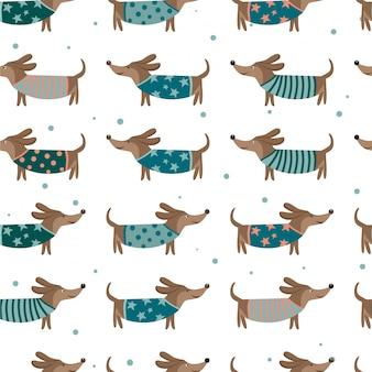 ダックスフント犬とのシームレスなパターン。