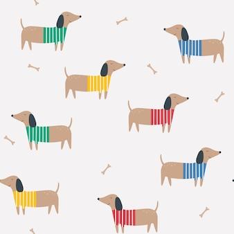 강아지와 함께 닥스훈트 만화 벡터 배경과 원활한 패턴