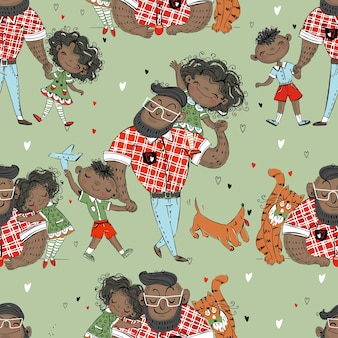 Seamless pattern with dad and kids. father's day.