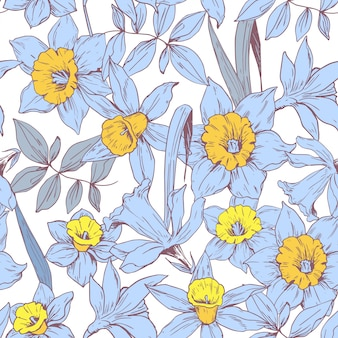 Seamless pattern with daffodils flowers.