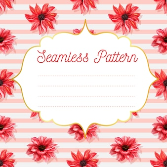 Seamless pattern with dahlia red watercolor