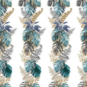 Seamless pattern with dark tropical leaves.