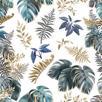 어두운 열 대 잎과 완벽 한 패턴입니다.