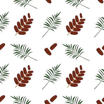 Бесшовный фон с финиковыми фруктами и пальмовой ветвью