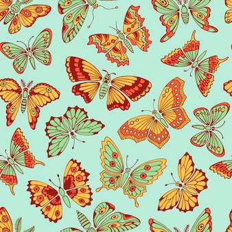 Seamless pattern with decorative butterflies. vector illustration.