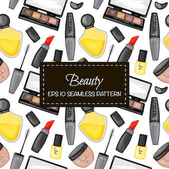 Seamless pattern with decorative cosmetics. cartoon style.  illustration.