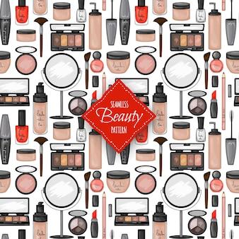 装飾的な化粧品とのシームレスなパターン。漫画のスタイル。ベクトルイラスト。