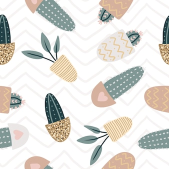 Seamless pattern with decorative houseplants. trendy plants growing in pots. set of beautiful natural home decorations. flat colorful vector illustration with gold texture.