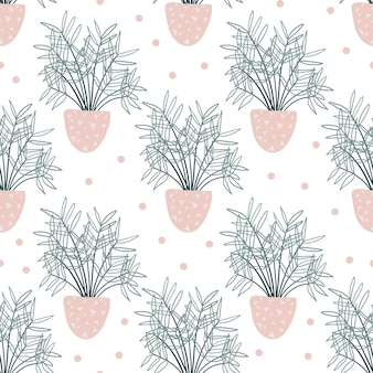 Seamless pattern with decorative houseplants.