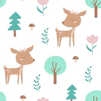 鹿と植物のシームレスパターン。